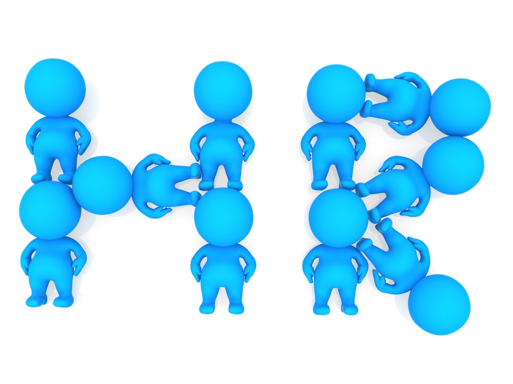 3D people forming a human resources sign - isolated
