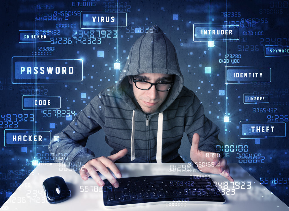 Hacker programing in technology environment with cyber icons and symbols