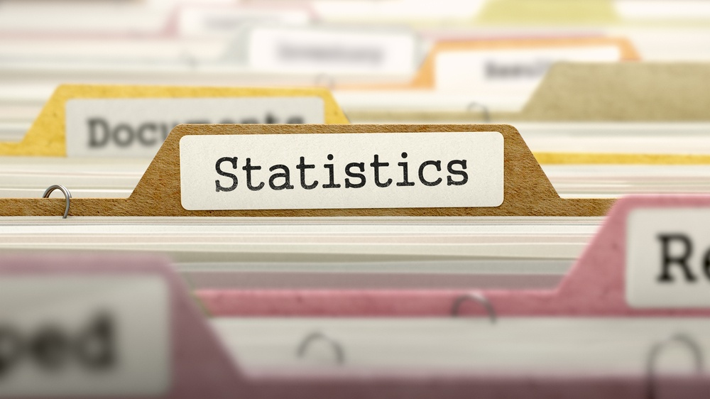 Statistics Concept on Folder Register in Multicolor Card Index. Closeup View. Selective Focus.