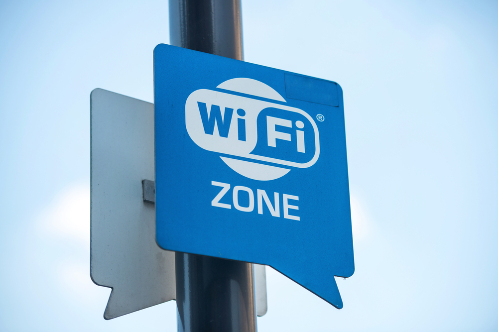 Wireless internet sign on pole on the street