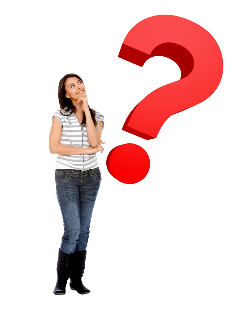 Wondering woman with a question mark isolated over white-1