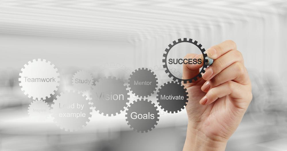 hand shows gear business success chart concept