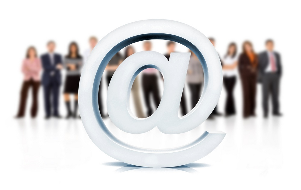 online email or web business team isolated over a white background